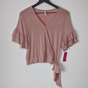 Xhilaration Rose Pink Ruffle Sleeve Side Tie Top